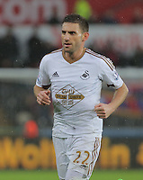 Angel Rangel of Swansea during the Barclays Premier League match between Swansea City and Crystal Palace at the Liberty Stadium, Swansea on February 06 2016