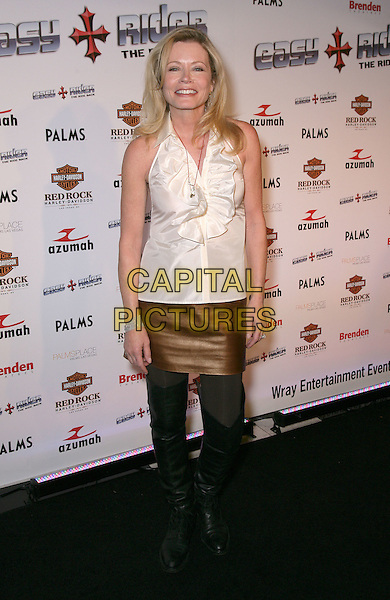 SHEREE WILSON.Easy Rider: The Ride Back special sneak peek screening at Brenden Theatre inside the Palms Resort Hotel and Casino, Las Vegas, Nevada, USA..October 1st, 2009.full length black boots bronze brown skirt white halterneck top ruffle.CAP/ADM/MJT.© MJT/AdMedia/Capital Pictures.