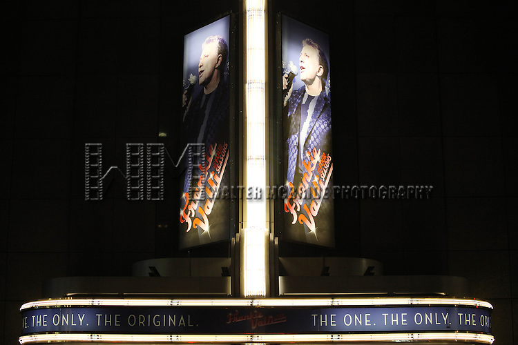 Theatre Marquee: Frankie Valli and the Four Seasons celebrate 50th Anniversary with Broadway debut in 'The One. The Only. The Original.' at the Broadway Theatre on 10/19/2012 in New York City.