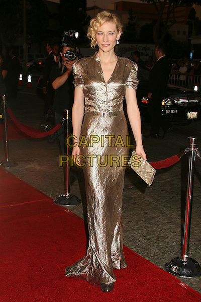 "CATE BLANCHETT.Paramount Vantage Presents Special Screening of ""Babel"" at Mann's Village Theatre, Westwood, California, USA..November 5th, 2006.Ref: ADM/BP.full length gold metallic shiny shirt dress clutch purse.www.capitalpictures.com.sales@capitalpictures.com.©Byron Purvis/AdMedia/Capital Pictures."