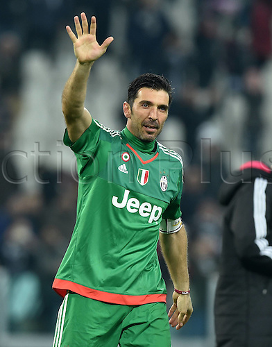 12.03.2016. Turin Italy. Goalie Gianluigi Buffon of Juventus, who broke the clean-sheet record reacts after the Italian Serie A soccer match between Juventus and Sassuolo at Juventus Stadium in Turin, Italy, March 11, 2016. Juventus won 1-0.