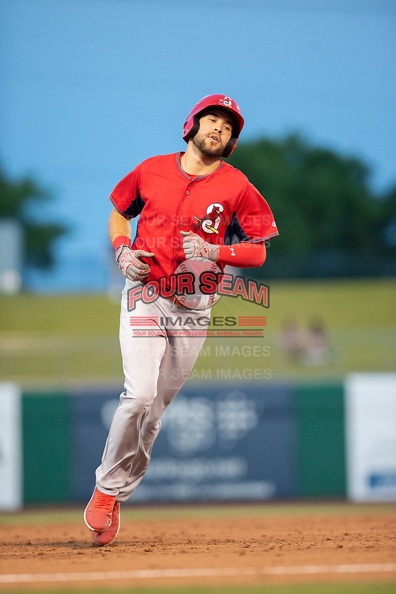 Springfield Cardinals outfielder Dylan Carlson (8) rounds third on May 16, 2019, at Arvest Ballpark in Springdale, Arkansas. (Jason Ivester/Four Seam Images)