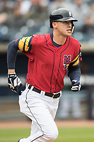 Toledo Mud Hens outfielder Jacoby Jones (4) runs to first base against the Lehigh Valley IronPigs during the International League baseball game on April 30, 2017 at Fifth Third Field in Toledo, Ohio. Toledo defeated Lehigh Valley 6-4. (Andrew Woolley/Four Seam Images)