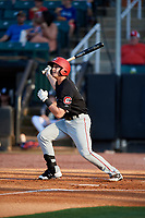 Chattanooga Lookouts third baseman Dan Gamache (21) follows through on a swing during a game against the Jackson Generals on April 29, 2017 at The Ballpark at Jackson in Jackson, Tennessee.  Jackson defeated Chattanooga 7-4.  (Mike Janes/Four Seam Images)