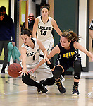 Enfield 1, Cassandra Urso, and RHAM 14, Jordan Synodi, dive for the loose ball,  during the first half, Friday, January 19, 0218, at Enfield High School. (Jim Michaud / Journal Inquirer)