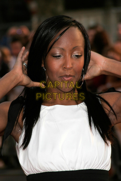 """ANJELLICA BELL.World premiere of """"What Happens In Vegas"""" held at the Odeon Leicester Square, London, England. .April 22nd 2008 .headshot portrait arms armpits white angelica anjelica .CAP/AH.©Adam Houghton/Capital Pictures."""