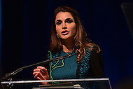 "Washington, DC - April 15, 2016: H.M. Queen Rania Al Abdullah, Hashemite Kingdom of Jordan, participates in the ""Forced Displacement: A Global Development Challenge"" discussion at the World Bank Group MC building in the District of Columbia during the IMF/World Bank Spring Meetings, April 15, 2016.  (Photo by Don Baxter/Media Images International)"