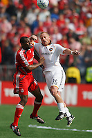 Toronto FC defender Marvell Wynne (16) and Los Angeles Galaxy midfielder Joe Franchino (16) go up for a header. Toronto FC defeated the Los Angeles Galaxy 2-0 during a Major League Soccer match at BMO Field in Toronto, Ontario, Canada, on May 31, 2008.