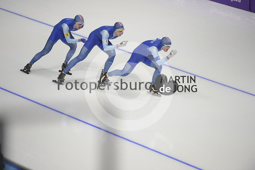 OLYMPIC GAMES: PYEONGCHANG: 21-02-2018, Gangneung Oval, Long Track, Team Pursuit Men, Olympic Champions Team Norway, Sverre Lunde Pedersen, Havard Bøkko, Simen Spiler Nilsen, ©photo Martin de Jong