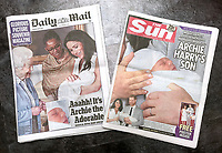 09 May 2019 - The Sun and Daily Mail Newspaper Headline and Front Cover the day after Prince Harry Duke of Sussex and Meghan Markle Duchess of Sussex held a photocall at Windsor Castle, Berkshire with their newborn baby son Archie Harrison Mountbatten-Windsor. Photo Credit: ALPR/AdMedia