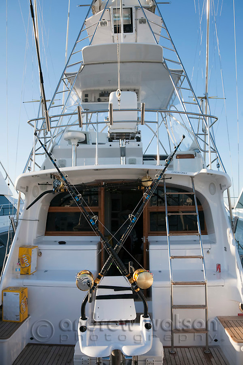 Game fishing boat in Marlin Marina.  The waters off Cairns are world renowned for black marlin fishing.  Cairns, Queensland, Australia