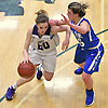 Courtney Lewis #20 of Port Jefferson, left, looks to get to the net as Abby Stowell #25 of Haldane guards her during the NYSPHSAA varsity girls basketball Class C Southeast Regional Final at SUNY Old Westbury on Thursday, March 9, 2017. Lewis scored 18 points to lead the Lady Royals to a 43-30 win.