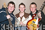 BAND OF BROTHERS: Members of Loaded Dice, just one of the groups that played at the KDYS Band night in the Convent Hall, Listowel, on Friday - James Browne, Paul Mulcahy and Noel Daly, all from Abbeyfeale..
