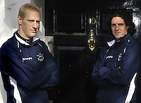 PUTNEY, LONDON, ENGLAND, 06.03.2006, Oxford's Canadian Internationals. left Jake Wetzel and right 2006 Oxford Varsity President Barney Williams, at the 2006 Presidents Challenge and Boat Race Crew announcement, held at the Winchester Club.   © Peter Spurrier/Intersport-images.com[Mandatory Credit Peter Spurrier/ Intersport Images] Varsity:Boat Race