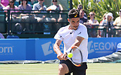 June 18th 2017, Nottingham, England; ATP Aegon Nottingham Open Tennis Tournament day 7 finals day;  Backhand from Thomas Fabbiano of Italy in his men's singles final match against Dudi Sela of Israel