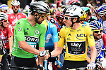 Green Jersey Peter Sagan (SVK) Bora-Hansgrohe and race leader Geraint Thomas (WAL) Team Sky Yellow Jersey before the start of Stage 13 of the 2018 Tour de France running 169.5km from Bourg d'Oisans to Valence, France. 20th July 2018. <br /> Picture: ASO/Alex Broadway | Cyclefile<br /> All photos usage must carry mandatory copyright credit (© Cyclefile | ASO/Alex Broadway)