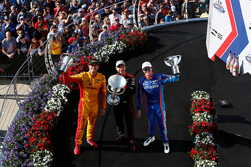Verizon IndyCar Series<br /> IndyCar Grand Prix<br /> Indianapolis Motor Speedway, Indianapolis, IN USA<br /> Saturday 13 May 2017<br /> Will Power, Team Penske Chevrolet, Scott Dixon, Chip Ganassi Racing Teams Honda, Ryan Hunter-Reay, Andretti Autosport Honda celebrate on the podium<br /> World Copyright: Phillip Abbott<br /> LAT Images<br /> ref: Digital Image abbott_indyGP_0517_5950