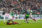 10.02.2019, Weserstadion, Bremen, GER, 1.FBL, Werder Bremen vs FC Augsburg<br /> <br /> DFL REGULATIONS PROHIBIT ANY USE OF PHOTOGRAPHS AS IMAGE SEQUENCES AND/OR QUASI-VIDEO.<br /> <br /> im Bild / picture shows<br /> Tor 3:0, Milot Rashica (Werder Bremen #11) spielt ReeceOxford (FC Augsburg #05) aus, mit Torschuss und Treffer 3:0, <br /> <br /> Foto &copy; nordphoto / Ewert