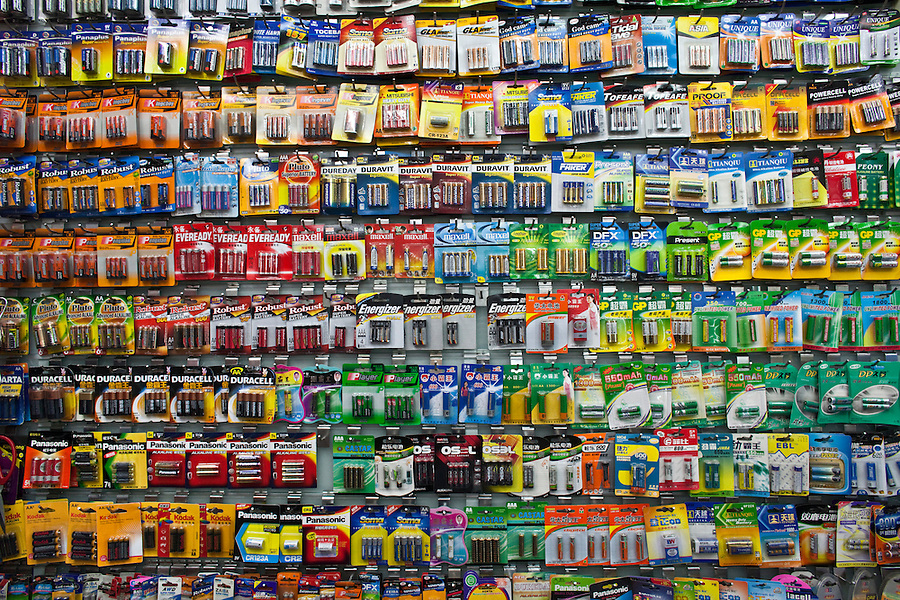Batteries for sale in the Yiwu Small Commodity Market, the world's largest wholesalers market selling more than 17 million kinds of commodities that are exported all over the globe. More than 200 metric tones of goods are exported from Yiwu every day.