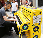 'Beautiful - The Carole King Musical' unveil a special 'Sing For Hope' Piano with a public Pop-Up performance at One Penn Plaza East  on June 21, 2017 in New York City.
