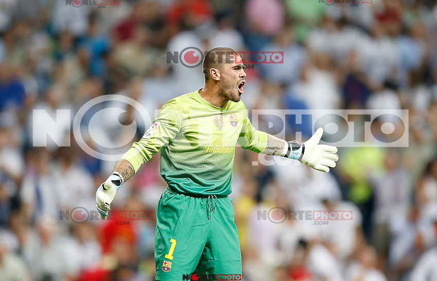 Barcelona's Victor Valdes reacts during Super Cup match. August 29, 2012. (ALTERPHOTOS/Alvaro Hernandez). NortePhoto.com