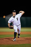 Florida Fire Frogs relief pitcher Chase Johnson-Mullins (45) delivers a pitch during a game against the Dunedin Blue Jays on April 10, 2017 at Osceola County Stadium in Kissimmee, Florida.  Florida defeated Dunedin 4-0.  (Mike Janes/Four Seam Images)