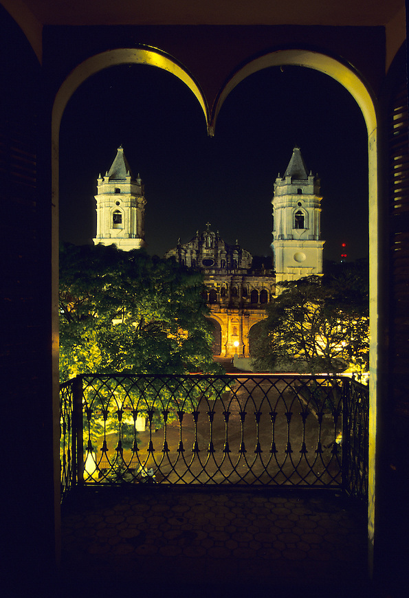 View of the National Cathedral from Hotel Central located on the Independence Plaza in Panama's old section of town, Casco Viejo. © Michael Brands. 970-379-1885.