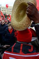 Roma, 2 Dicembre 2017<br /> Susanna Camusso tra i lavoratori migranti.<br /> Manifestazione della CGIL per Pensioni e Lavoro