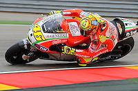 Italian Rider Valentino Rossi during the qualifying practice at Grand Prix Aragon 2012