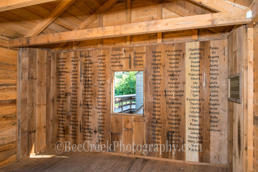 This is the wall of names of the slaves that lived at Oak Alley in the slaves quarters. You will note that it is only the first name.