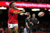 Josh Navidi of Wales during the pre match warm up for the under armour summer series 2019 match between Wales and Ireland at the Principality Stadium, Cardiff, Wales, UK. Saturday 31st August 2019