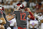 Connor Halliday prepares to fire the ball to an open receiver during the Washington State Cougars non-conference road opener against the Nevada Wolfpack at Mackay Stadium in Reno, Nevada, on September 5, 2014.