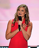 Singer/Songwriter Ayla Brown sings the National Anthem at the 2016 Republican National Convention held at the Quicken Loans Arena in Cleveland, Ohio on Thursday, July 21, 2016.<br /> Credit: Ron Sachs / CNP<br /> (RESTRICTION: NO New York or New Jersey Newspapers or newspapers within a 75 mile radius of New York City)