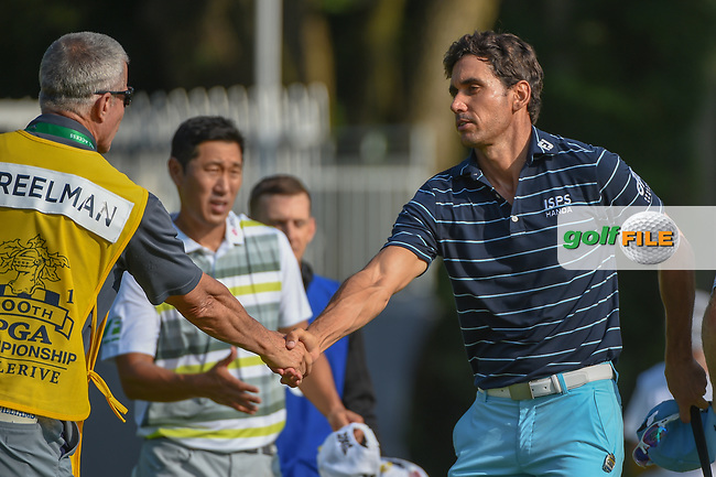 Rafael Cabrera Bello (ESP) shakes hands following 2nd round of the 100th PGA Championship at Bellerive Country Club, St. Louis, Missouri. 8/11/2018.<br /> Picture: Golffile | Ken Murray<br /> <br /> All photo usage must carry mandatory copyright credit (© Golffile | Ken Murray)