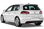 Rear three quarter view of 2011 Volkswagen Golf R 5 Door Hatchback Stock Photo