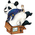 Illustration of panda with musical notes sitting on cardboard box over white background