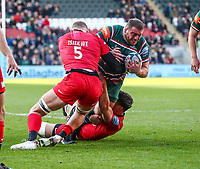 27th October 2019; Welford Road Stadium, Leicester, East Midlands, England; English Premiership Rugby, Tigers versus Saracens; Greg Bateman on the charge for Tigers is brought down  - Editorial Use