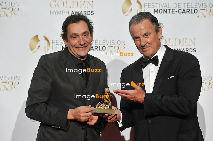 CPE/June 13, 2013-Director Agusti Villaronga and Eric Braeden poses with Golden Nymph Awards during the closing ceremony of the 2013 Monte Carlo Television Festival. Golden Nymph Awards Photocall.