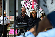 August 12, 2011 (Washington, DC)  Members of the group Code Pink protested in front of the Syrian Embassy in Washington on August 12, 2011.  The group was protesting what they consider Syria's human rights violations against its own people.  (Photo: Media Images International)