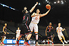 Brendan McGuire #22 of Chaminade takes a hook shot during a non-league varsity boys basketball game against Half Hollow Hills East at Nassau Coliseum in Uniondale on Sunday, Jan. 21, 2018. Hills East won by a score of 90-68.