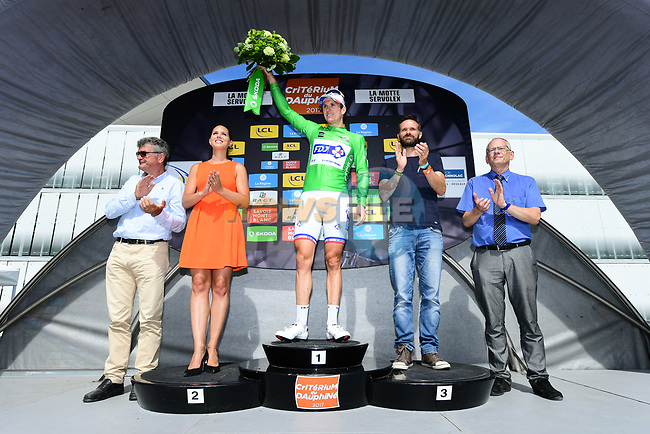 Arnaud Demare (FRA) FDJ retains the points green jersey on the podium at the end of Stage 6 of the Criterium du Dauphine 2017, running 147.5km from Parc des Oiseaux - Villars-les-Dombes to La Motte-Servolex, France. 9th June 2017. <br /> Picture: ASO/A.Broadway | Cyclefile<br /> <br /> <br /> All photos usage must carry mandatory copyright credit (&copy; Cyclefile | ASO/A.Broadway)