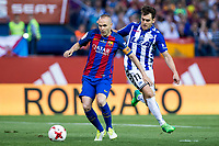 Andres Iniesta of FC Barcelona holds off pressure from  Ibai Gomez of Club Deportivo Alaves during the match of  Copa del Rey (King's Cup) Final between Deportivo Alaves and FC Barcelona at Vicente Calderon Stadium in Madrid, May 27, 2017. Spain.. (ALTERPHOTOS/Rodrigo Jimenez) /NortePhoto.com