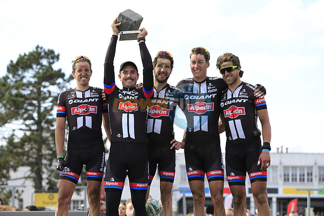 Winner John Degenkolb (GER) Giant-Alpecin with his team mates on the podium in the famous Roubaix Velodrome at the end of the 113th edition of the Paris-Roubaix 2015 cycle race held over the cobbled roads of Northern France. 12th April 2015.<br /> Photo: Eoin Clarke www.newsfile.ie