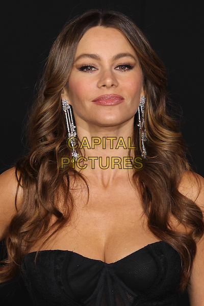 "Sofia Vergara.The World Premiere of ""New Year's Eve' held at The Grauman's Chinese Theatre in Hollywood, California, USA..December 5th, 2011.headshot portfait  black strapless corset dangling silver earrings viagra .CAP/CEL .©CelPh/Capital Pictures."