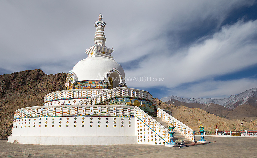 The Shanti Stupa overlooks the city of Leh.