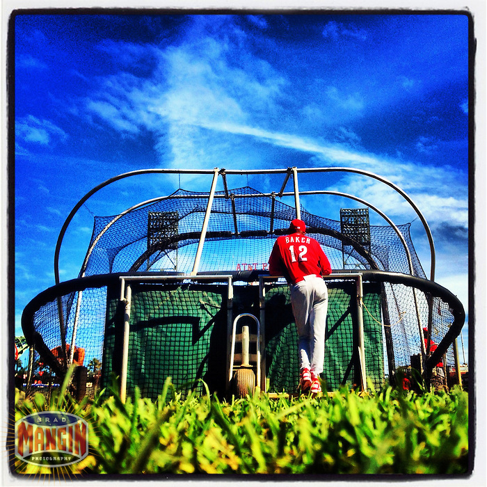 SAN FRANCISCO - OCTOBER 5:  Instagram of Cincinnati Reds manager Dusty Baker watching batting practice during the workout before Game 1 of the NLDS against the San Francisco Giants at AT&T Park on October 5, 2012 in San Francisco, California. Photo by Brad Mangin