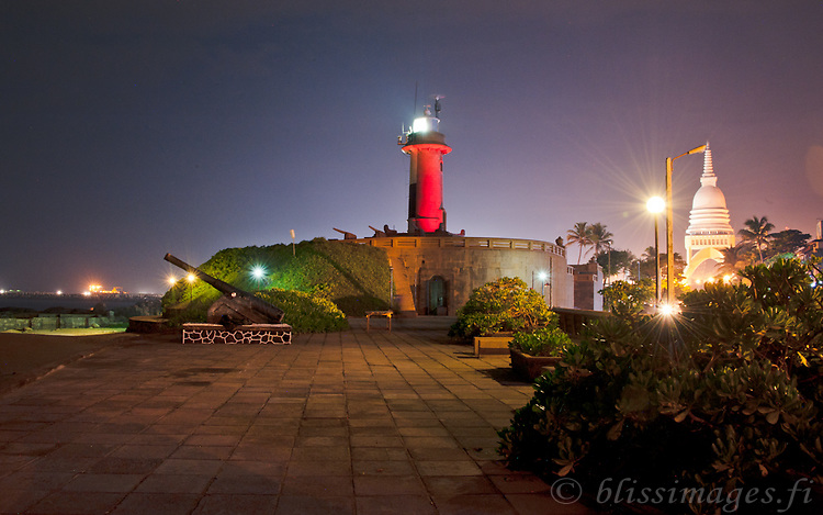 Twilight at Galbokka Point (Galle Buck) Lighthouse at Naval Headquarters, Cloombo, Sri Lanka