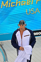 July 28, 2012: Michael Phelps of USA walks towards the starting block to compete in Men's 400m Individual Medley at the Aquatics Center on day one of 2012 Olympic Games in London, United Kingdom.