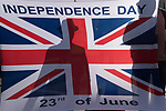 Brexit group of Leavers, Brexiteers  with Union Jack flag Independence Day  23rd of June 2016 the date of the referendum to leave the European Union. Super Saturday 19 October 2019  Parliament Square London UK.