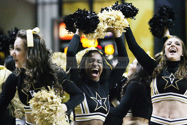 Vanderbilt cheerleaders yell in the first half of UK's game vs. Vandy after scoring a basket at Memorial Gymnasium in Nashville on Saturday, Feb. 20. 2010. Photo by Britney McIntosh   Staff